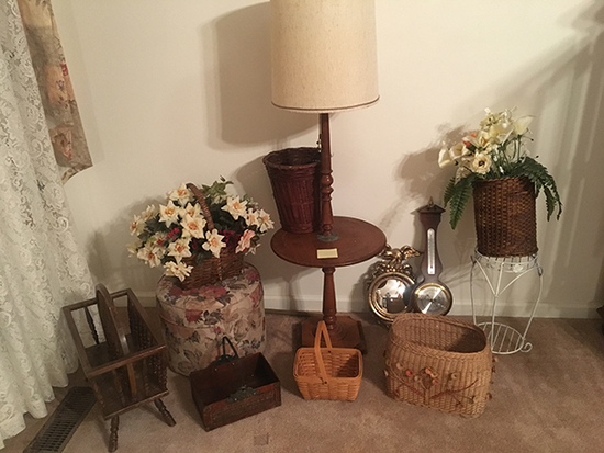 Table , Foot Stool, Baskets Etc