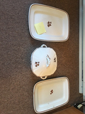 Tea Leaf Platters and Covered Dish