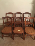 Set of 6 Cane Seat Chairs