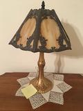 Iron Base Slag Glass Lamp
