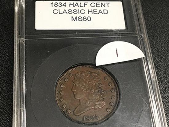 1834 Half Cent CoinWorld holder MS60