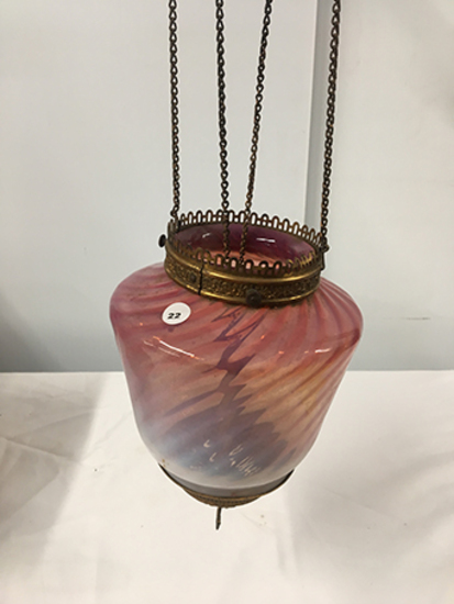 PICK UP ONLY -  27 in total length hanging Cranberry lamp