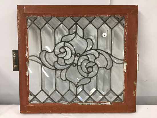 PICK UP ONLY -  Leaded glass window, 21 in x 19 1/4 in outside frame, one crack