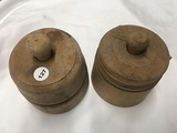 (2) Wooden butter molds with stamps