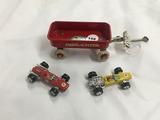 Salesman sample Radio Flyer wagon with rubber wheels & (2) racing wheels race cars