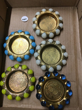 (6) Marble & Brass ashtrays, one marked World's Fair 1939