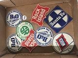 (8) Railroad metal badging, oval ones measure 3 in.