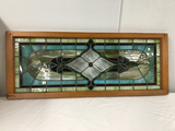 PICK UP ONLY -  Stained leaded glass window 4 ft x 19 in outside frame, nice condition