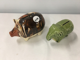 4 1/2 in. Bennington piggy bank (some damage) and 4 in. elephant bank
