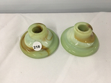 (2) Agate glass 3 1/2 in. candle holders