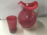 9 1/2 in. tall cranberry opalescent pitcher and 1 tumbler (no chips or cracks)