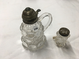 6 1/2 in. tall Eye Winker syrup pitcher and shaker (no chips or cracks)