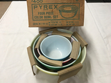 4 piece Pyrex colored bowl set with box (never used)