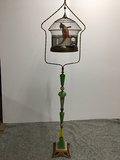 PICK UP ONLY -  74 in tall Akro Agate Art Deco bird cage stand, chip on base