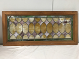 PICK UP ONLY -  Stained leaded glass window 45 in x 20 1/2 in outside frame, few cracks, complete