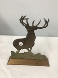 Brass Base, Cast Iron Stag 9 in wide 10 in tall