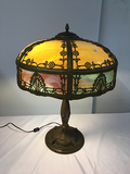 PICK UP ONLY -  Extraordinary Slag Glass lamp 23 in tall, 18 1/2 in wide, Nice Condition