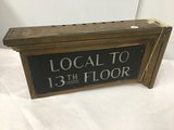 16 1/2 in x 9 in lighted brass elevator sign