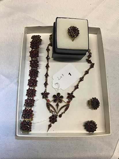 Semi-Parure: Garnets, Bracelet, Clip Earrings, Size 5.5 Ring and Necklace (marked 900)