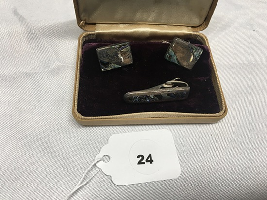 Men's Taxco Cuff Link and tie clip set with Abalone
