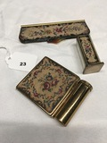 4 pc. Tapestry Compact set with lipstick and comp and lipstick with mirro