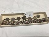India British Coin Bracelet Mosaic Bracelet marked (Italy)