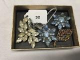 Rhinestone pin and earrings, 2 blue Rhinestone scatter pins and multi color Rhinestone pin