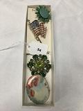 Sandor Pin,  Monet Flag Pin, Austria Pin, hand painted Porcelain pin