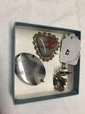 2 Stone Pendants, 1 pr. Mexican Silver Earrings