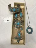 2 Costume Faux Turquoises Necklaces one Cuff Bracelet