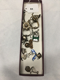 Purse Glove Holders, Sm. Pad lock and charms and pin
