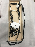 Black and White Glass Bead Necklace, 30 in long with 4 in tassell