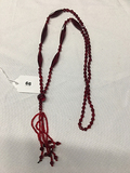 30 in Red Glass Necklace with Tassel Drop