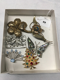 Enzell sterling pin with blue stones, Brooks Christmas Tree Pin, Norseland Coro Sterling Birds, Mexi