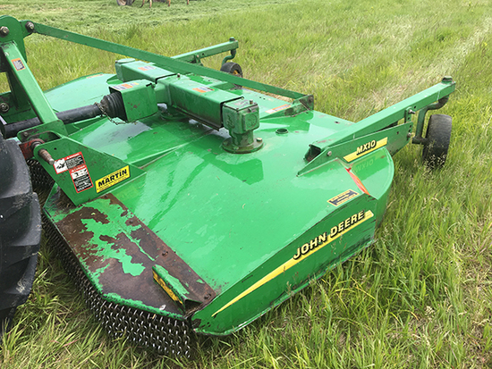 JD MX10 Quickhitch Rotary Cutter, Landwheels, Front Safety Chains, 540 PTO, Good Condition.