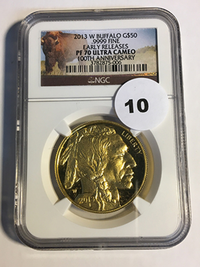 2013-W 100th Anniversary Buffalo $50 Gold NGC Early Release PF70 Ultra Cameo