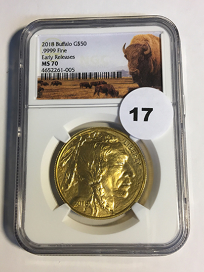 2018 Buffalo $50 Gold NGC Early Release MS70