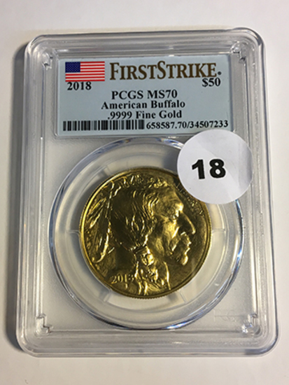 2018 Buffalo $50 Gold First Strike PCGS MS70