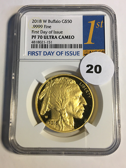 2018-W Buffalo $50 Gold NGC First Day of Issue PF70 Ultra Cameo