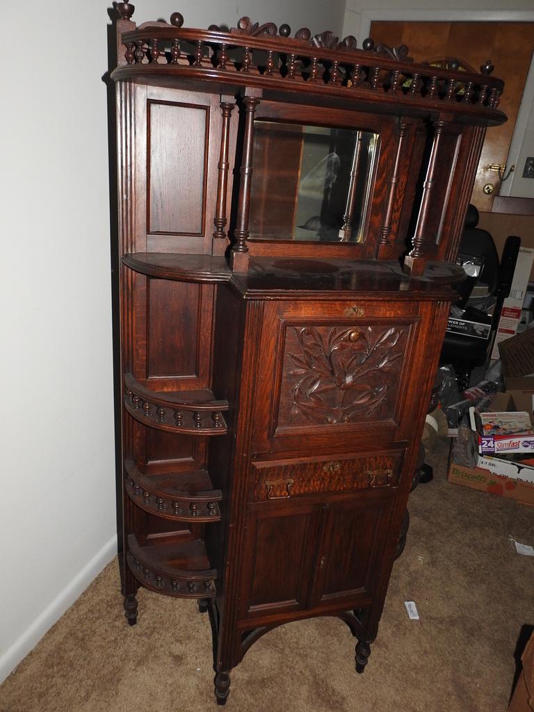 antique 1800s victorian secretary desk with mirror hardwood