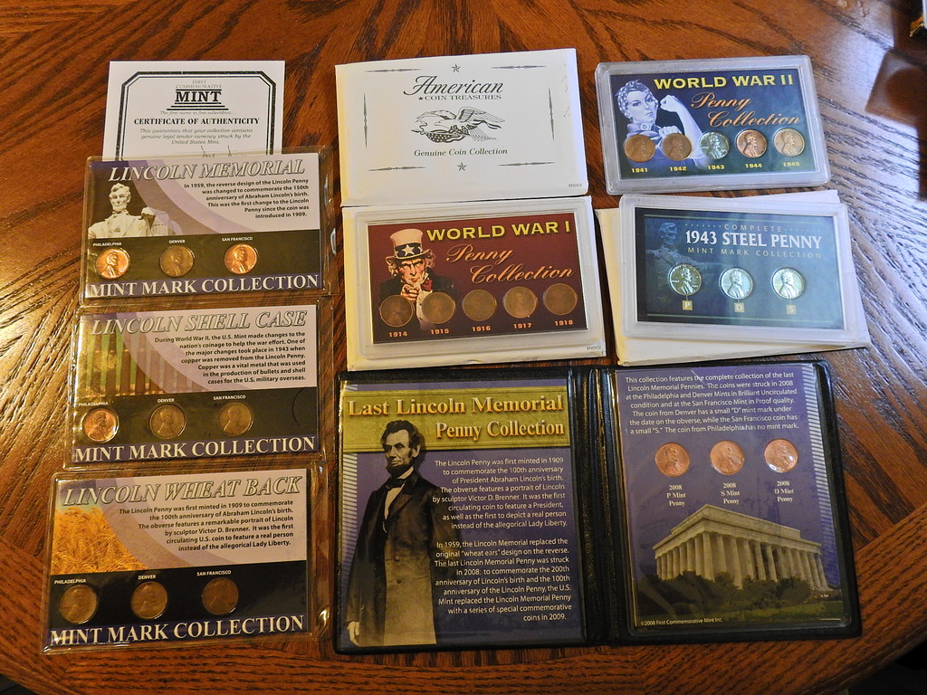Lot: assortment of penny lots lincoln memorial WWI steel