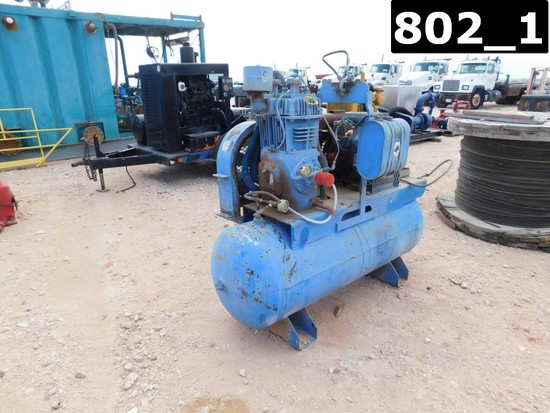 QUINCY 340 AIR COMPRESSOR P/B KOHLER 20 HP GAS ENGINE W/ 50 GAL AIR STORAGE