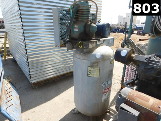 CURTIS MODEL 5E2VT8A2 ELECTRIC AIR COMPRESSOR W/ 80 GAL VOLUME TANK (112937