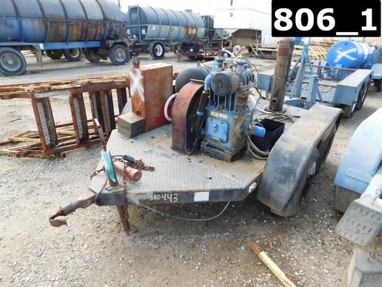 (X) (1310443) QUINCY 340HP AIR COMPRESSOR W/ VOLUME TANK MTD ON T/A STEEL F