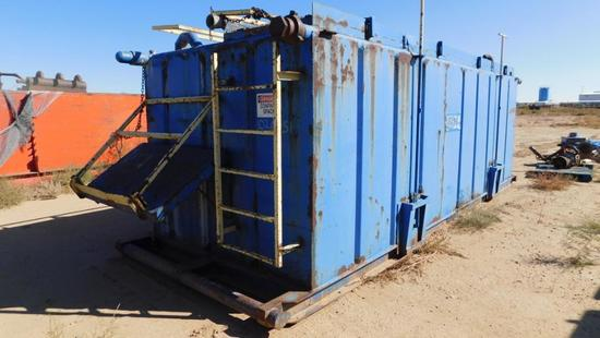 (1020051) 22' X 7.6' X 6' (2) COMP., CRIMPED STEEL REVERSE PIT W/ HANDRAILS, HARDLINE RACKS *LOCATED
