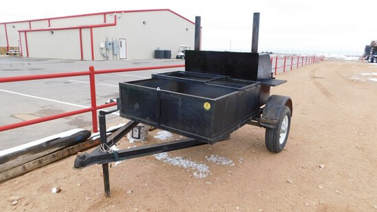 Located in YARD 1 - Midland, TX (8201) BBQ PIT MTD ON SGL AXLE TRAILER, WOOD BOX