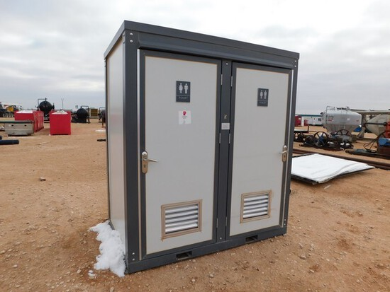 Located in YARD 1 - Midland, TX 4.6'W X 7'L X 8'T PORTABLE 2 STALL RESTROOM W/ T