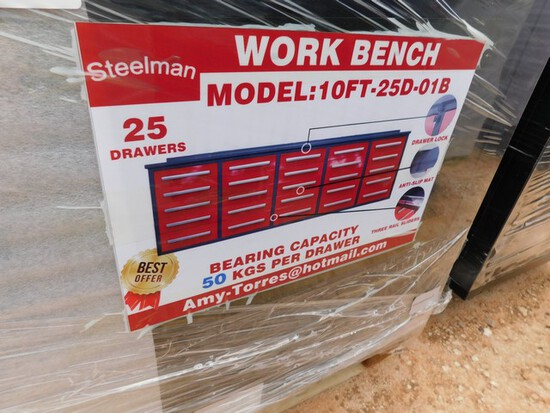 UNUSED 10' WORKBENCH W/ 25 DRAWERS  Located in YARD1 Midland, TX