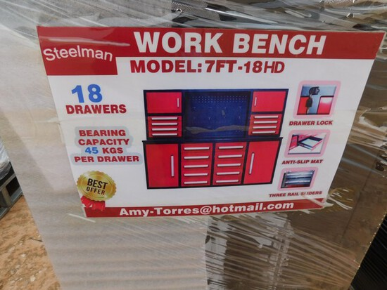 UNUSED 7' WORKBENCH W/ 18 DRAWERS Located in YARD1 Midland, TX