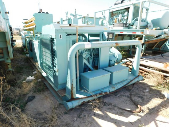 (004) 8' X 18' SKID MTD GARDNER DENVER 200FXX DUPLEX PUMP, P/B 6 CYL CAT TURBO D